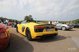 Back/Side of Audi R8 V10 plus 5.2 V10 FSI quattro S Tronic, 610ps, 2018 at Autoropa Racing day Knutstorp 2019