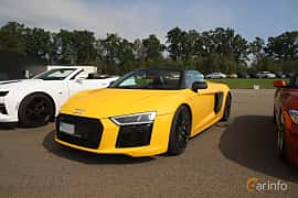Front/Side  of Audi R8 V10 plus 5.2 V10 FSI quattro S Tronic, 610ps, 2018 at Autoropa Racing day Knutstorp 2019