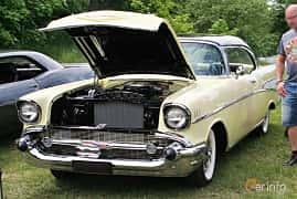 Front/Side  of Chevrolet Bel Air Sport Coupé 1957 at Hässleholm Power Start of Summer Meet 2016