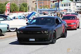 Front/Side  of Dodge Challenger SRT Demon 6.2 V8 HEMI Supercharged TorqueFlite, 852ps, 2018 at Cruising Lysekil 2019