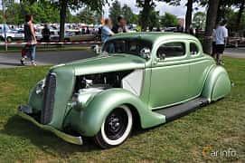 Front/Side  of Ford Model 48 5-window Coupé 3.6 V8 Manual, 86ps, 1935 at Hässleholm Power Start of Summer Meet 2016