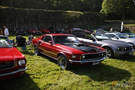 Front/Side  of Ford Mustang Mach I 5.8 V8 Automatic, 254ps, 1969 at Tjolöholm Classic Motor 2018
