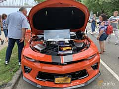 Front  of Chevrolet Camaro SS 6.2 V8 Hydra-Matic, 461ps, 2018 at Father's Day Classic Car Show New York 2019