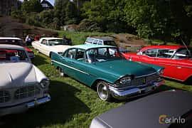 Front/Side  of Plymouth Belvedere 4-door Sedan 5.2 V8 TorqueFlite, 233ps, 1959 at Tjolöholm Classic Motor 2018