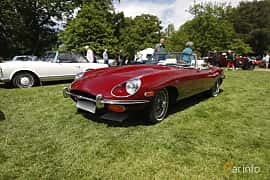 Front/Side  of Jaguar E-Type Roadster 4.2 XK Manual, 269ps, 1969 at Sofiero Classic 2019