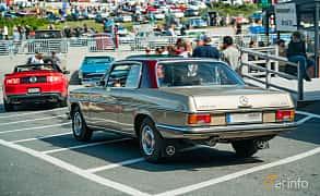 Back/Side of Mercedes-Benz 250 CE Coupé  Manual, 150ps, 1971 at Stockholm Vintage & Sports Car meet 2019