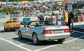 Back/Side of Mercedes-Benz SL 320  Automatic, 224ps, 2001 at Stockholm Vintage & Sports Car meet 2019