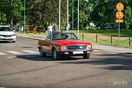 Front/Side  of Mercedes-Benz 350 SL  Manual, 195ps, 1973 at Ronneby Nostalgia Festival 2019