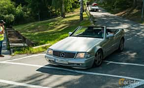 Front/Side  of Mercedes-Benz SL 320  Automatic, 224ps, 2001 at Stockholm Vintage & Sports Car meet 2019