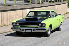 Front/Side  of Plymouth Satellite Hardtop 6.3 V8 TorqueFlite, 294ps, 1970 at Cruising Lysekil 2019