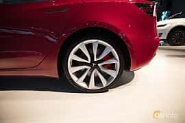 Bak/Sida av Tesla Model 3 Performance 75 kWh AWD Single Speed, 487ps, 2018 på Paris Motor Show 2018