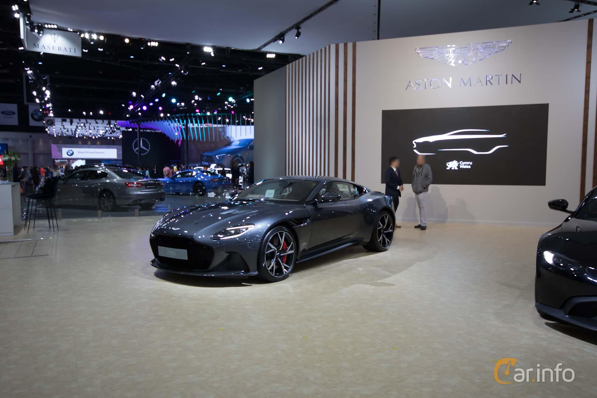Front/Side  of Aston Martin DBS Superleggera 5.2 V12 Automatic, 725ps, 2019 at Bangkok Motor Show 2019