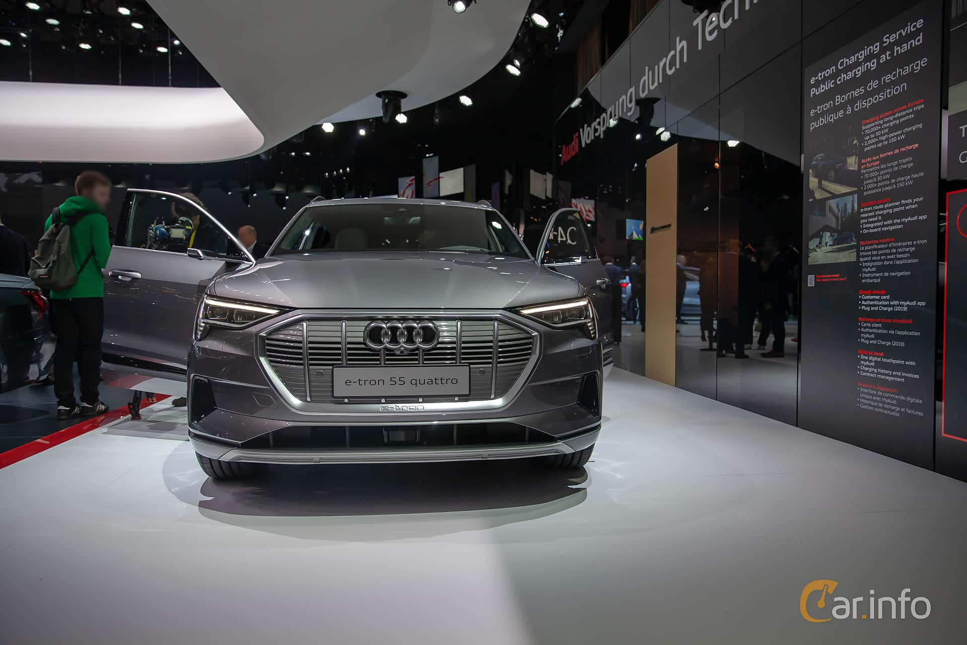 Front  of Audi e-tron 55 quattro  Single Speed, 408ps, 2019 at Geneva Motor Show 2019