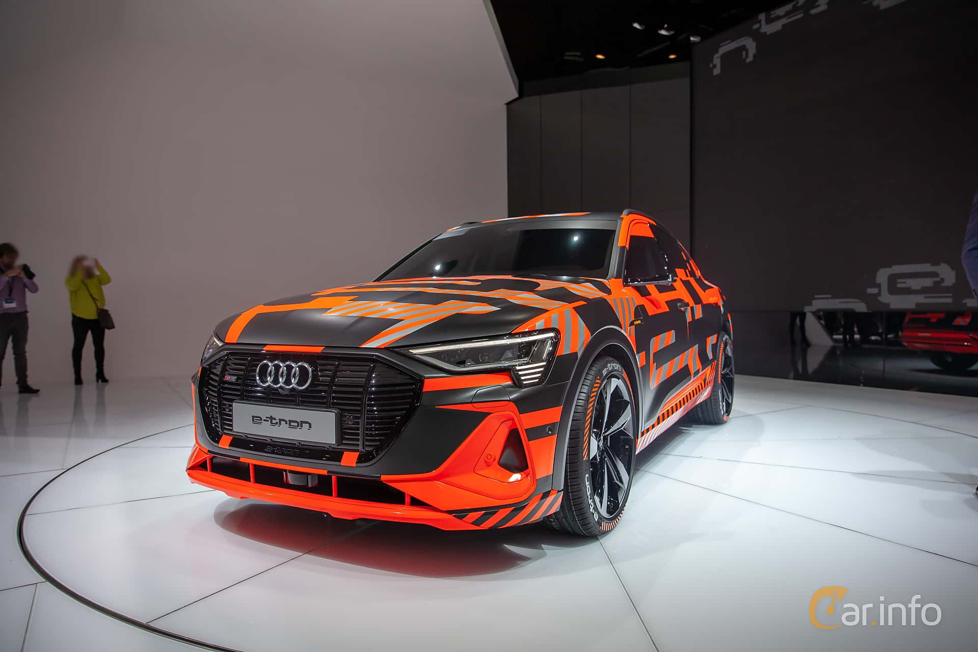 Front/Side  of Audi e-tron 55 quattro  Single Speed, 408ps, 2019 at Geneva Motor Show 2019