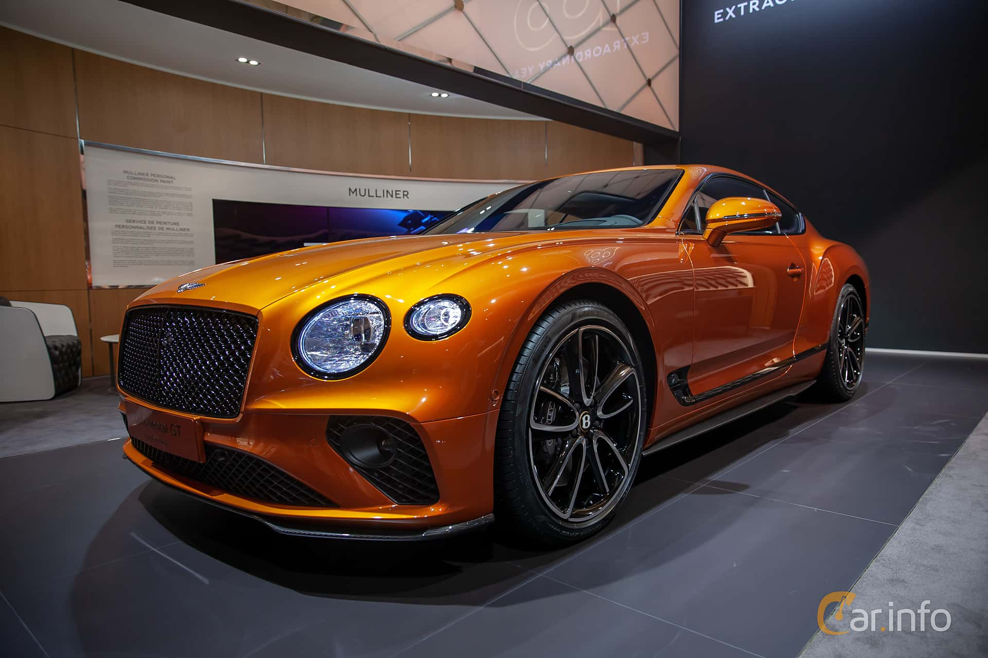 Front/Side  of Bentley Continental GT 6.0 W12 TSI DCT, 635ps, 2019 at Geneva Motor Show 2019