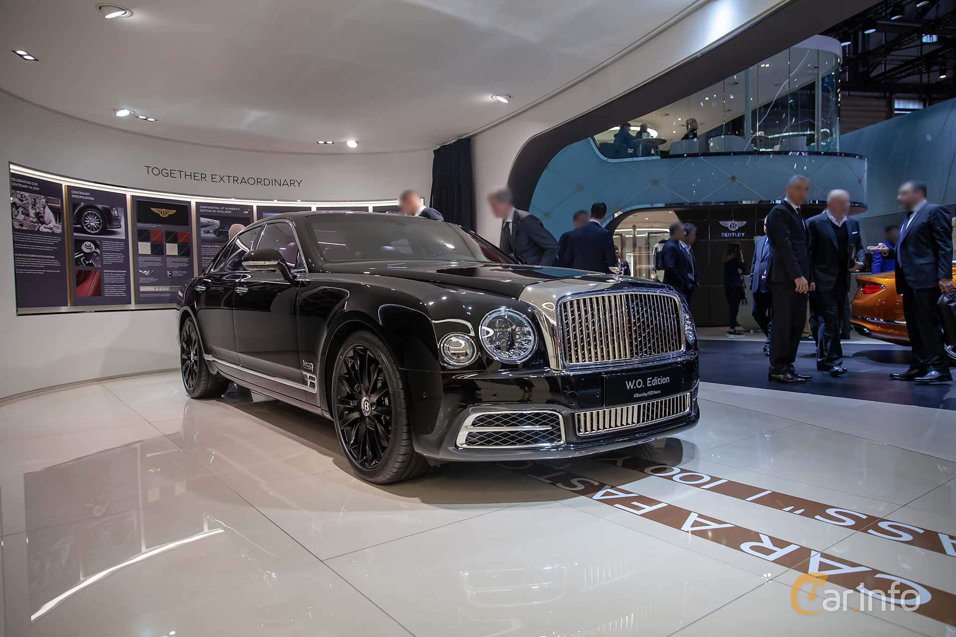 Front/Side  of Bentley Mulsanne 6.75 V8  Automatic, 512ps, 2019 at Geneva Motor Show 2019