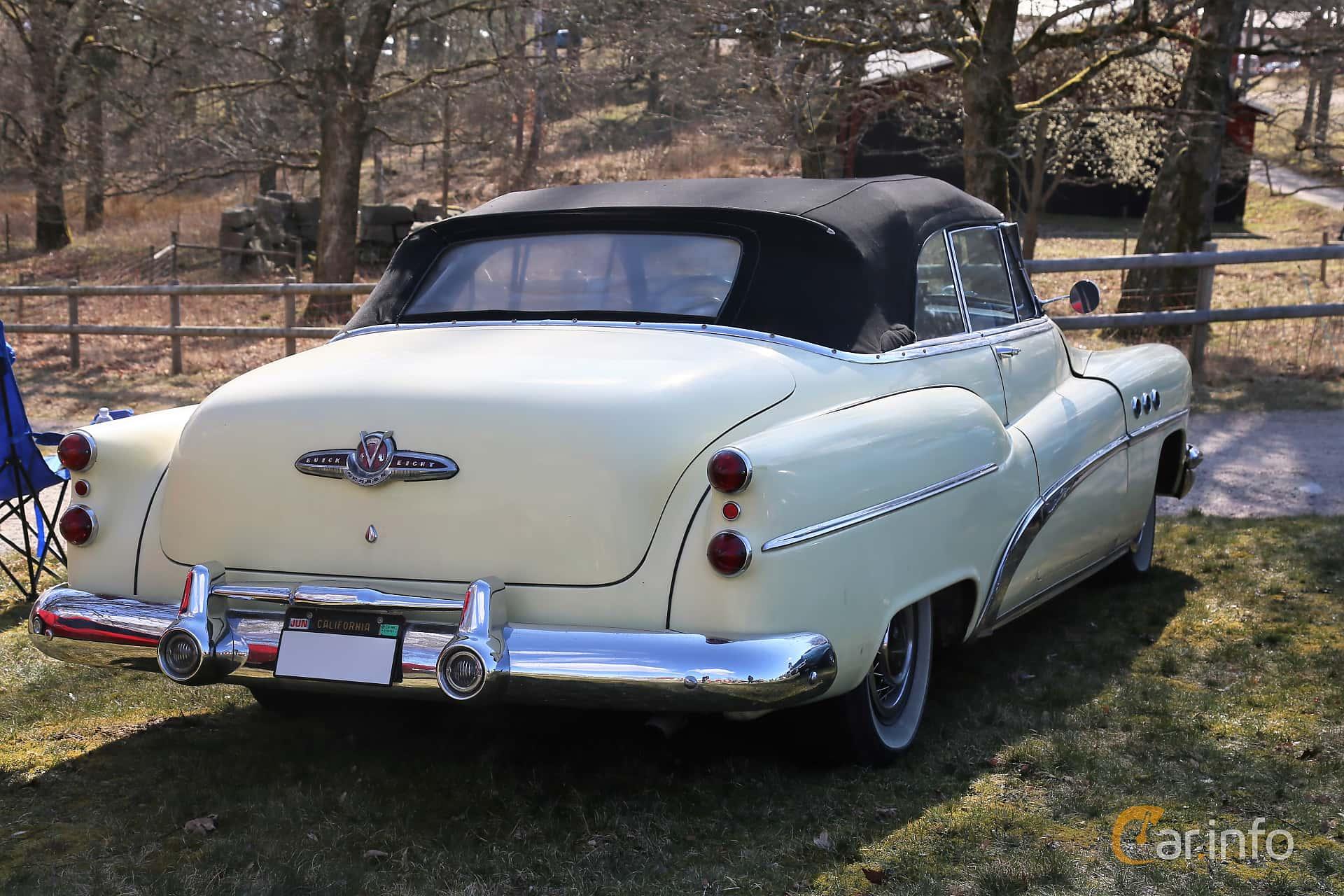 Back/Side of Buick Super Convertible 5.3 V8 Automatic, 172ps, 1953 at Uddevalla Veteranbilsmarknad Backamo, Ljungsk 2019