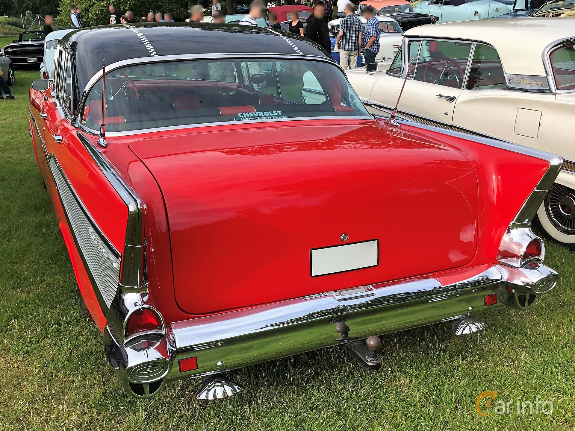 Back/Side of Chevrolet Bel Air Sport Sedan 4.6 V8 Powerglide, 188ps, 1957 at Bil & MC-träffar i Huskvarna Folkets Park 2019 vecka 32 tema Hot Rods