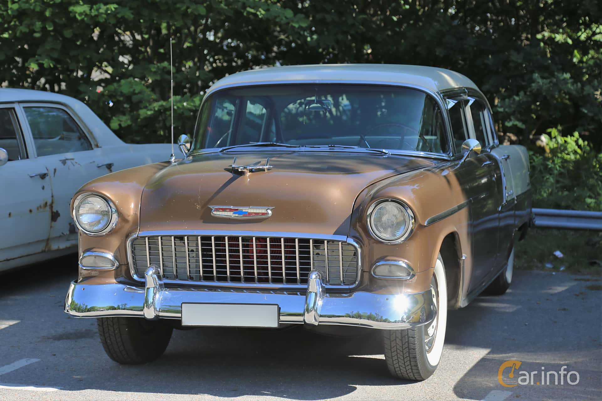 5 Images Of Chevrolet Bel Air 4 Door Sedan 43 V8 Powerglide 165hp 1955 Front Side 165ps