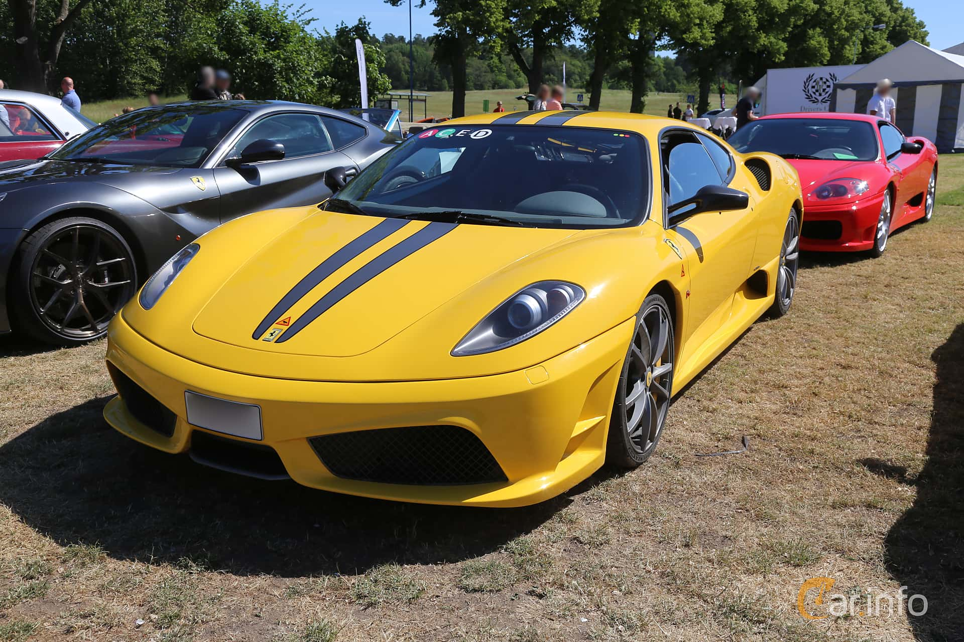 Front/Side  of Ferrari 430 Scuderia 4.3 V8 Sequential, 510ps, 2009 at Cars and Coffee Stockholm 2018