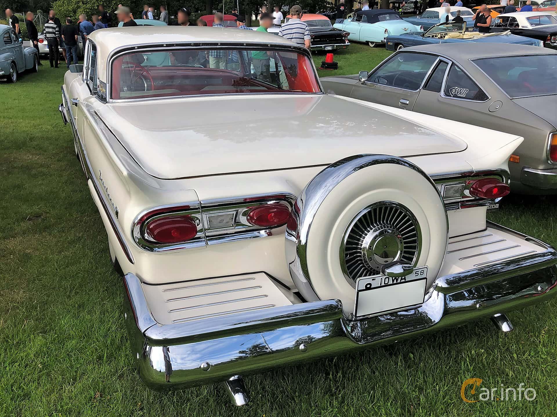 Back/Side of Ford Fairlane 500 Skyliner 5.4 V8 Automatic, 269ps, 1958 at Bil & MC-träffar i Huskvarna Folkets Park 2019 vecka 32 tema Hot Rods