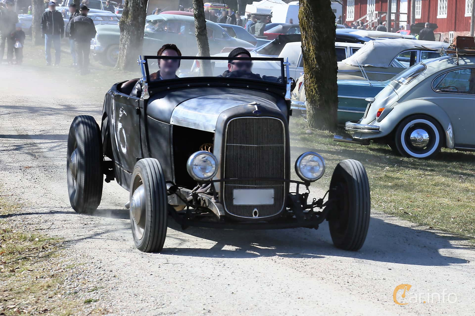 Front/Side  of Ford Model A Roadster 3.3 Manual, 41ps, 1929 at Uddevalla Veteranbilsmarknad Backamo, Ljungsk 2019