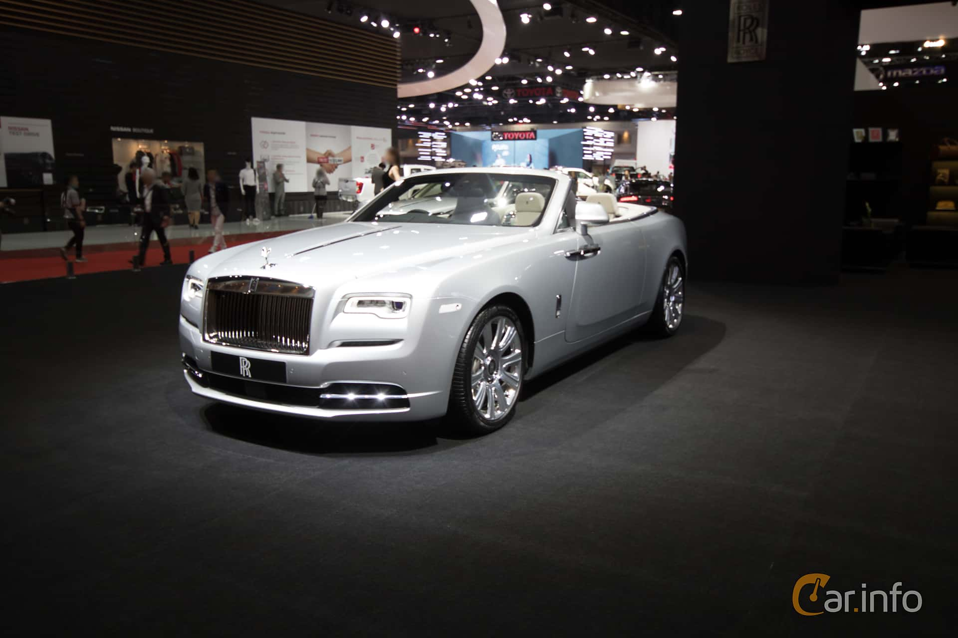Front/Side  of Rolls-Royce Dawn 6.6 V12 Automatic, 570ps, 2019 at Bangkok Motor Show 2019