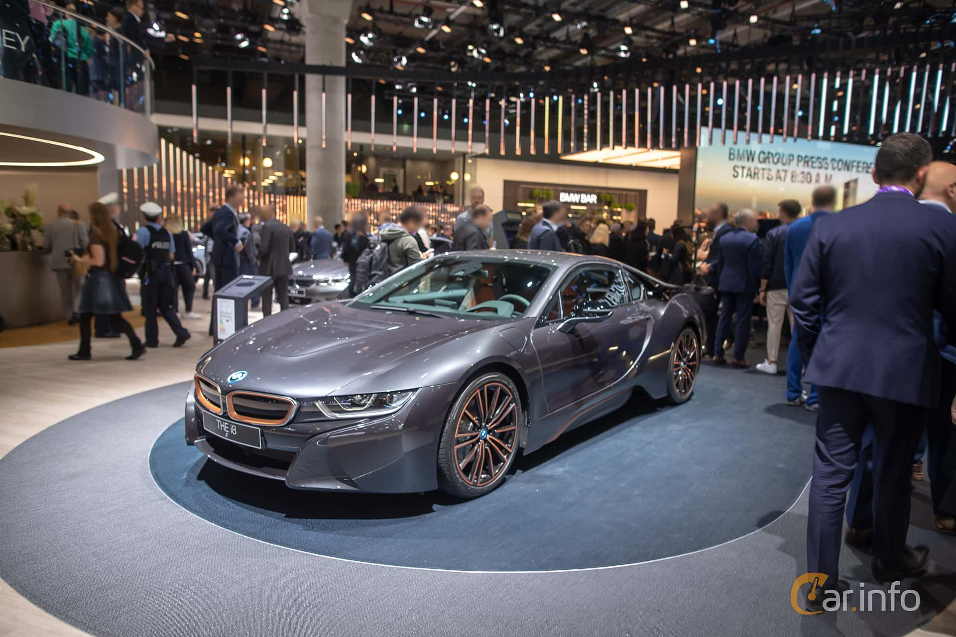 Front/Side  of BMW i8 1.5 + 11.6 kWh Steptronic, 374ps, 2020 at IAA 2019