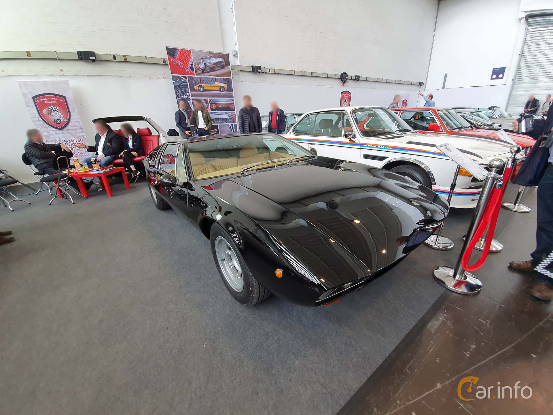 Front/Side  of De Tomaso Mangusta 4.7 V8 Manual, 306ps, 1969 at Techno Classica Essen 2019