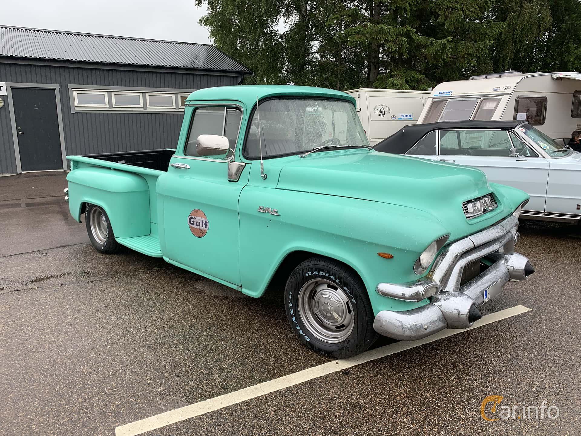 Front/Side  of GMC Blue Chip 100 Pickup 5.2 V8 Automatic, 183ps, 1956 at Svenskt sportvagnsmeeting 2019