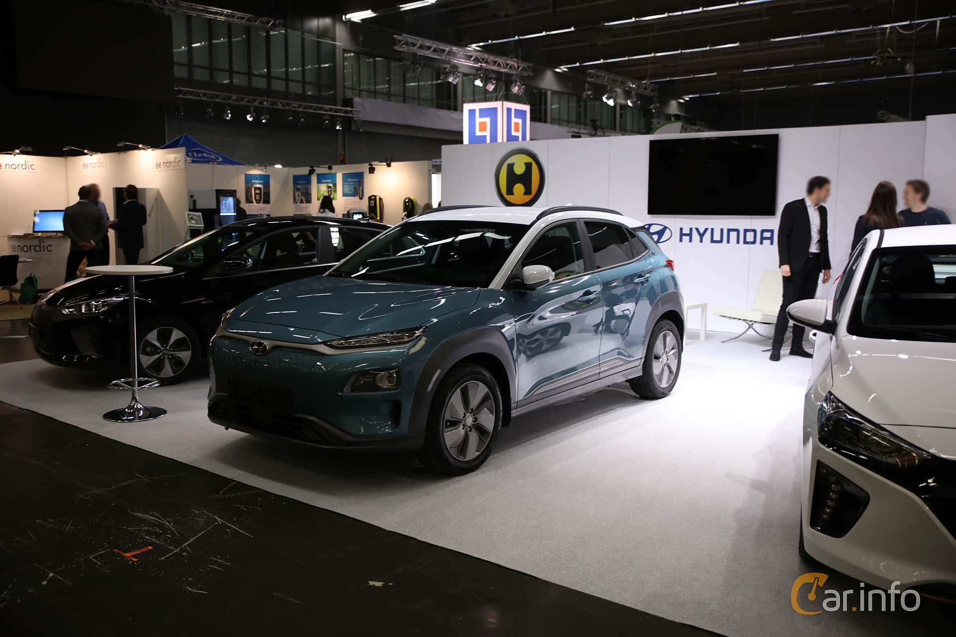 Front/Side  of Hyundai Kona Electric 64 kWh Single Speed, 204ps, 2019 at eCar Expo Göteborg 2018
