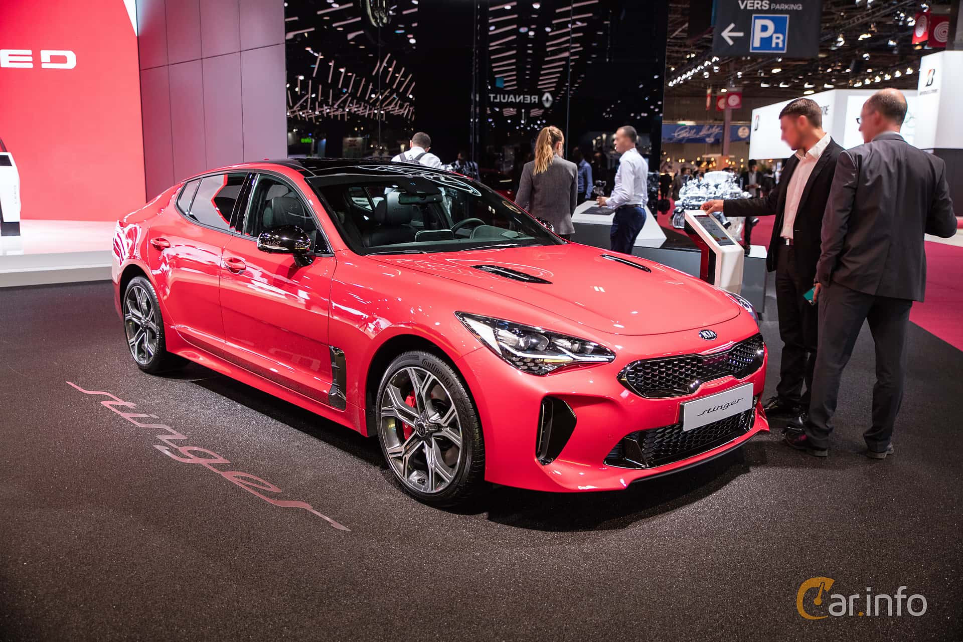 Front/Side  of Kia Stinger GT 3.3 V6 T-GDI AWD Automatic, 370ps, 2019 at Paris Motor Show 2018