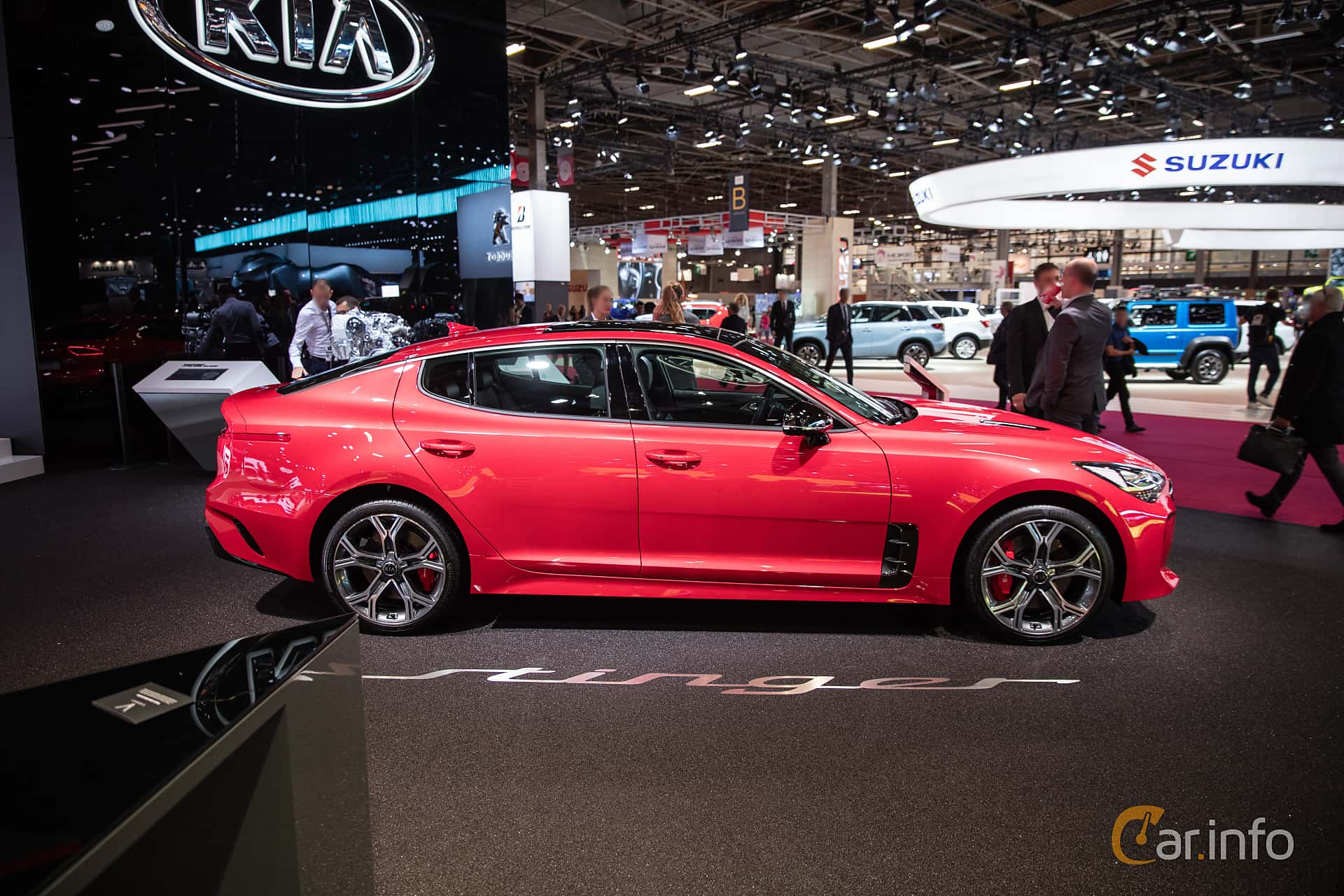 Side  of Kia Stinger GT 3.3 V6 T-GDI AWD Automatic, 370ps, 2019 at Paris Motor Show 2018