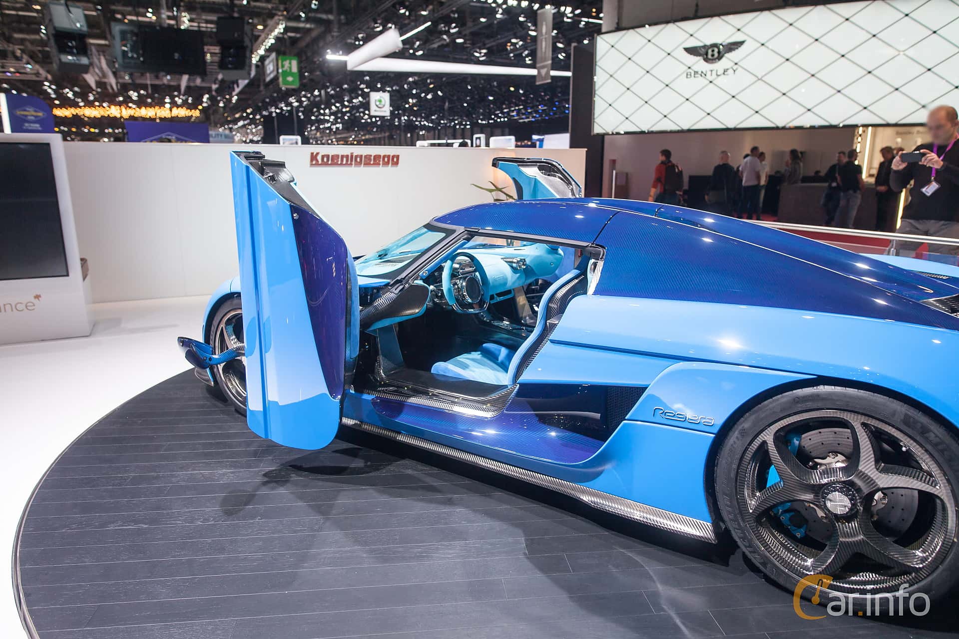 Close-up of Koenigsegg Regera 5.0 V8 KDD, 1500ps, 2018 at Geneva Motor Show 2018
