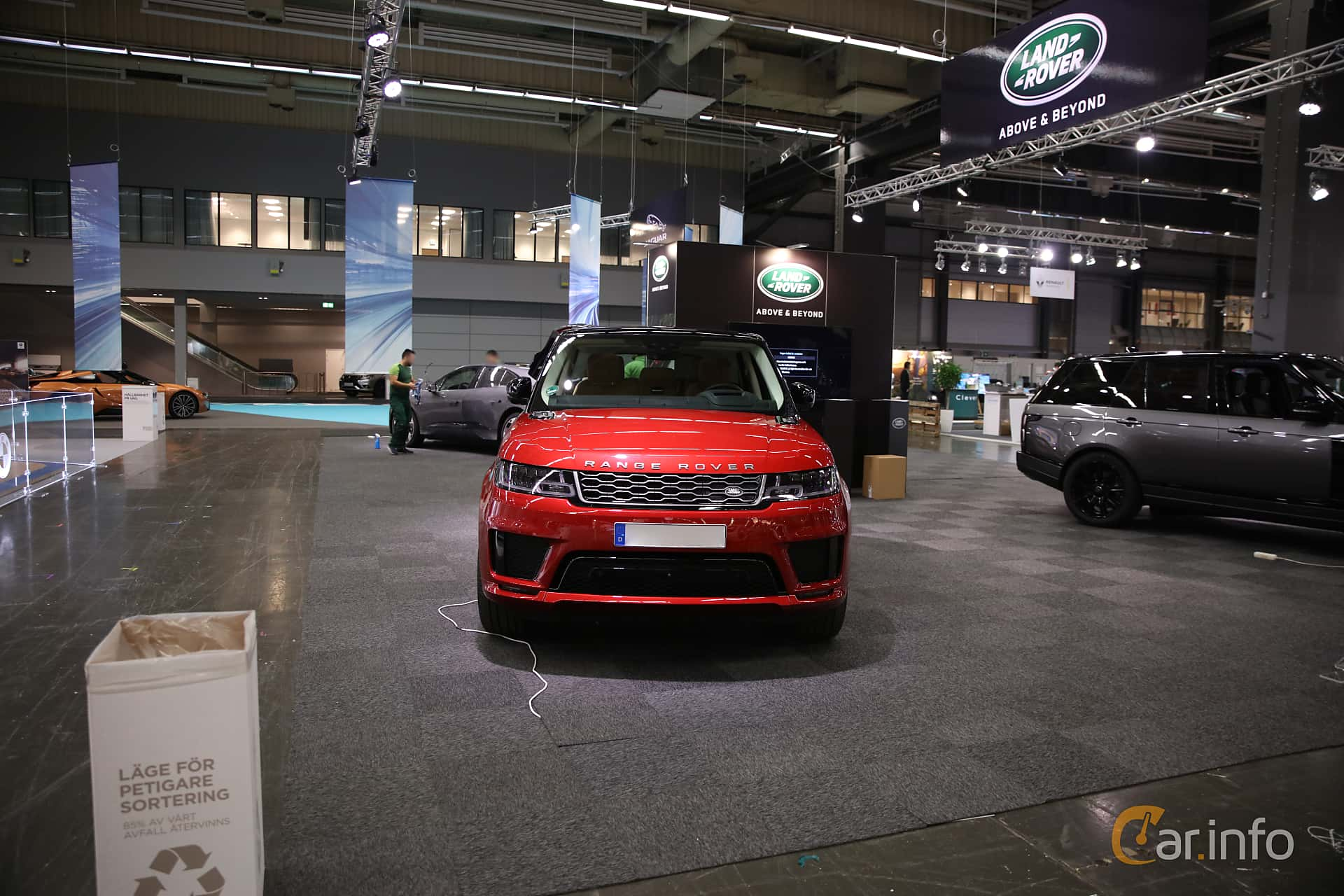 Front  of Land Rover Range Rover Sport P400e 2.0 + 13.1 kWh 4WD Automatic, 404ps, 2018 at eCar Expo Göteborg 2018