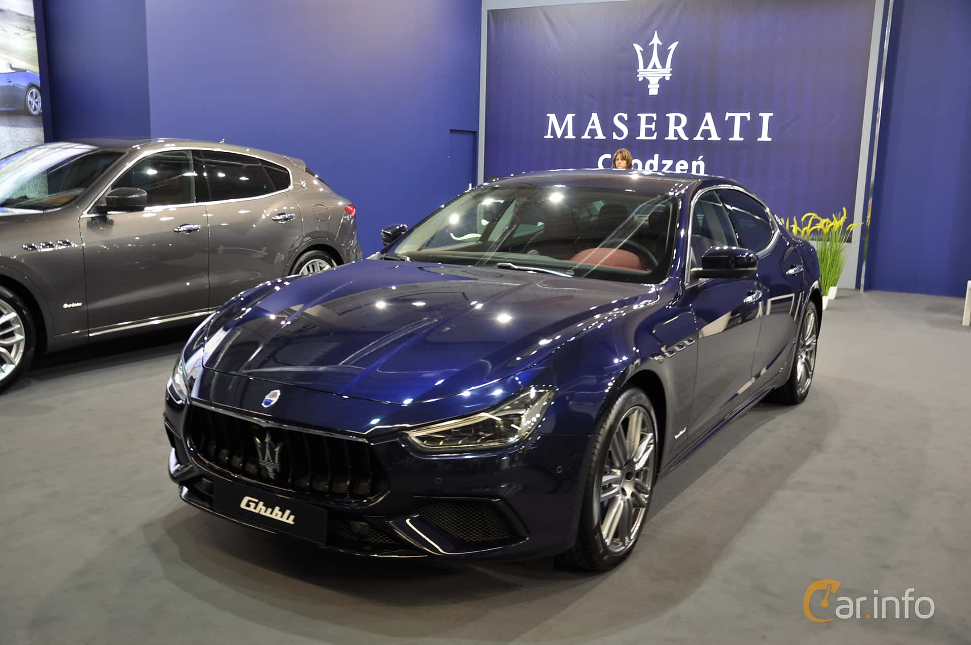 Front/Side  of Maserati Ghibli Diesel 3.0 V6  Automatic, 275ps, 2018 at Warsawa Motorshow 2018