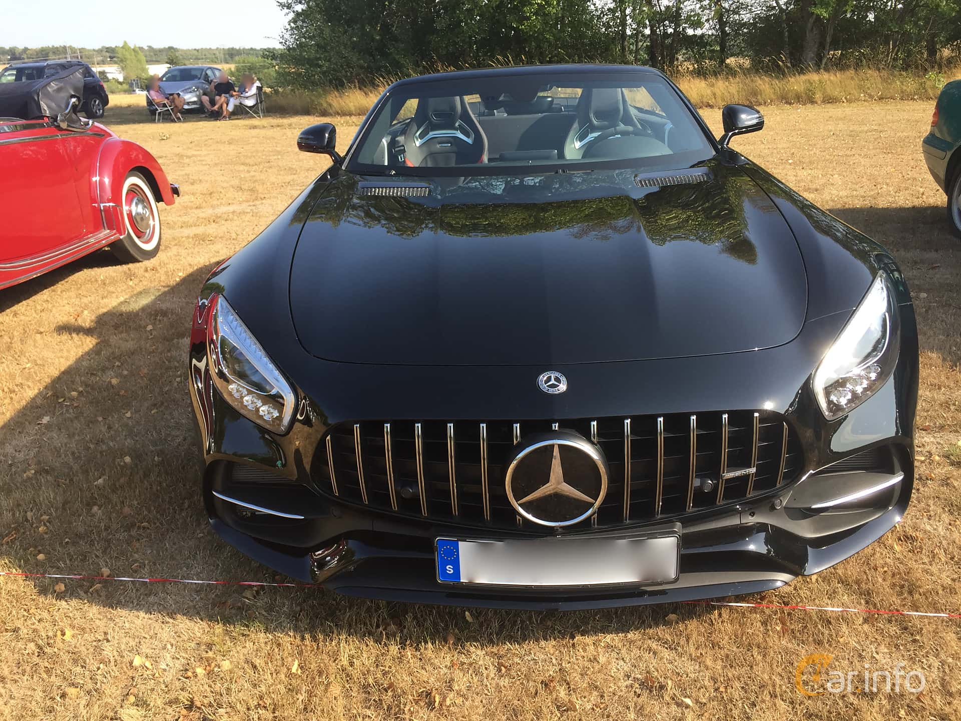 Front  of Mercedes-Benz AMG GT C Roadster  AMG Speedshift DCT, 557ps, 2017 at Eddys bilträff Augusti 2018