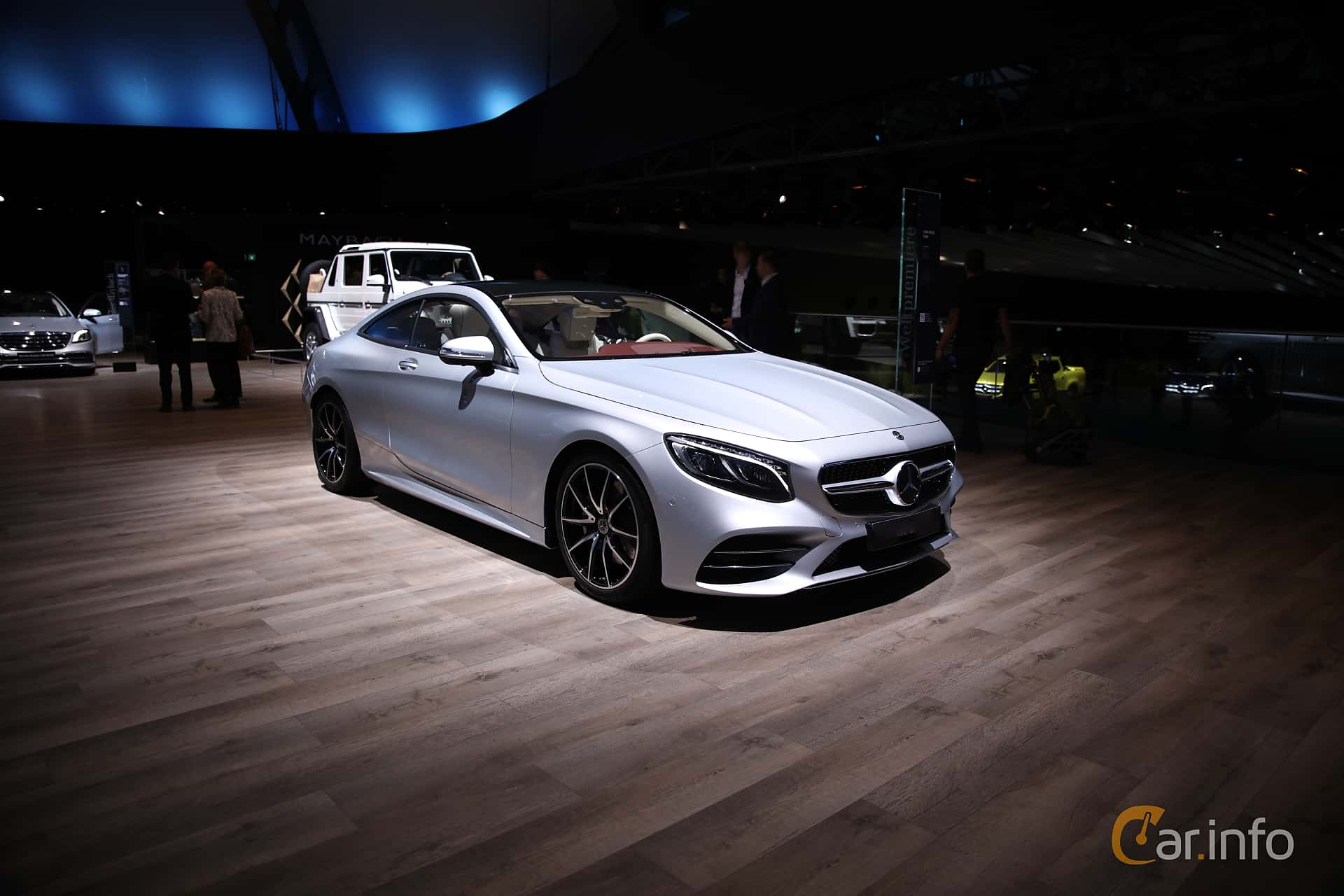 Front/Side  of Mercedes-Benz S 450 4MATIC Coupé  9G-Tronic, 367ps, 2018 at IAA 2017