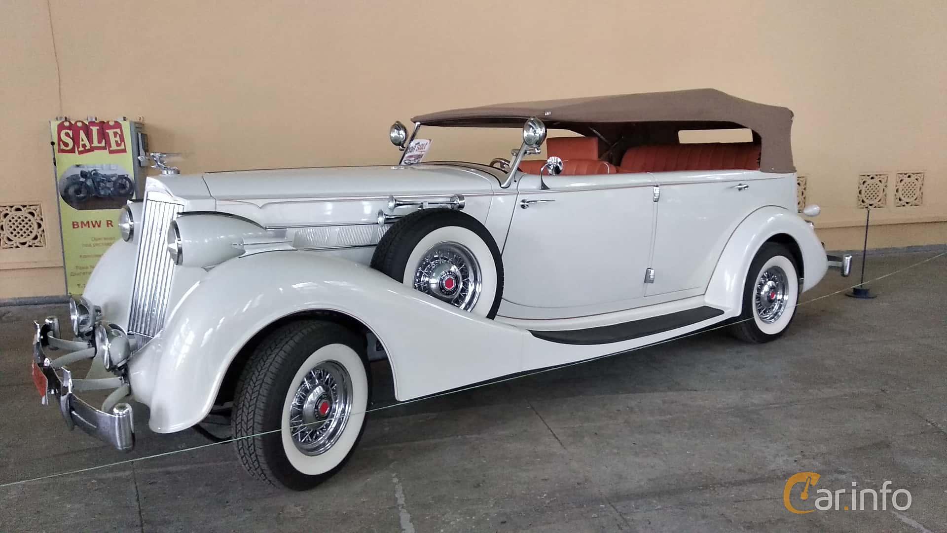 Packard Twelve 1508 Convertible Sedan 7.8 V12 Manual, 177hp, 1937 at Old Car Land no.2 2018