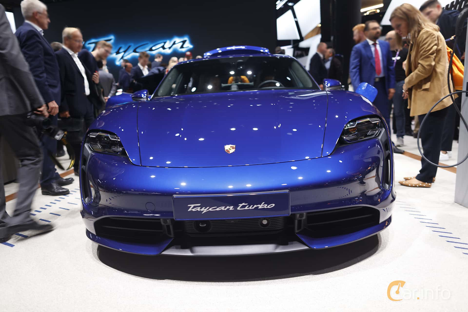 Front  of Porsche Taycan Turbo  Single Speed, 680ps, 2020 at IAA 2019