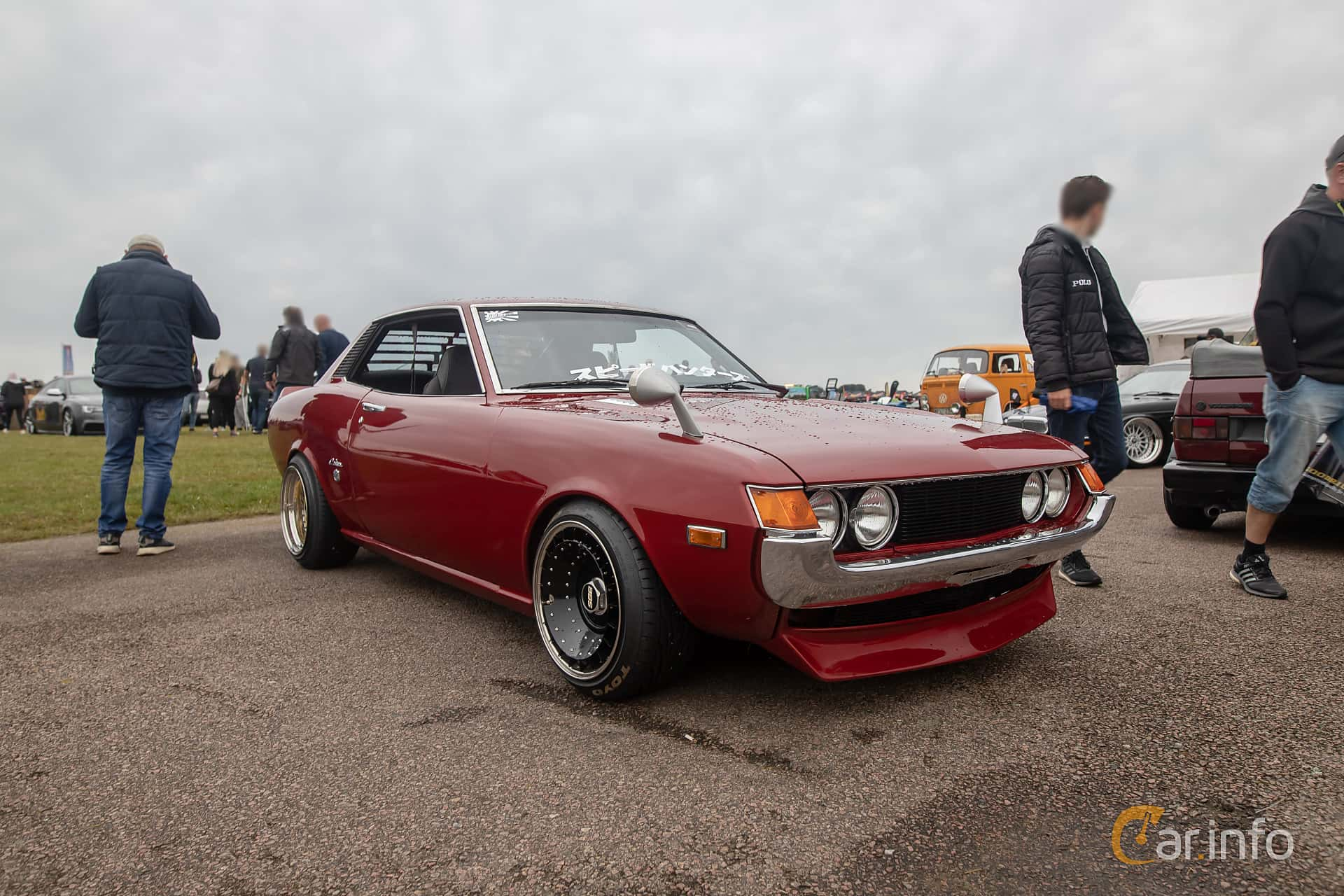 Front/Side  of Toyota Celica Coupé 1.6 Manual, 86ps, 1974 at Vallåkraträffen 2019