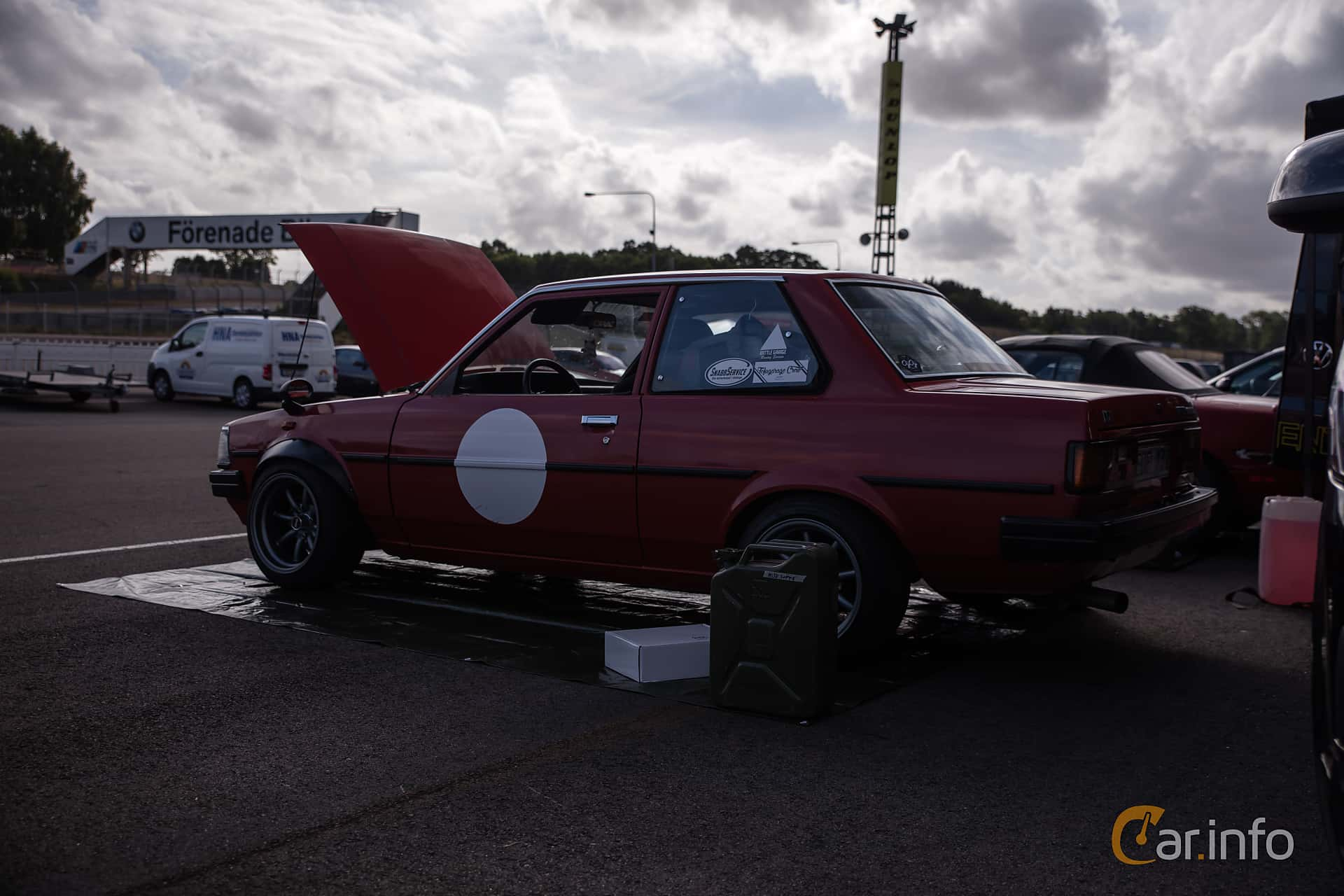 Toyota Corolla 2-door Sedan 1.3 Manual, 60hp, 1982 at JapTuning Trackday 2018 Knutstorp