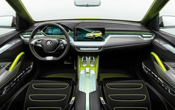 Interior of Skoda Vision X 1.5 TSI G-Tec AWD Concept, 132hp, 2018
