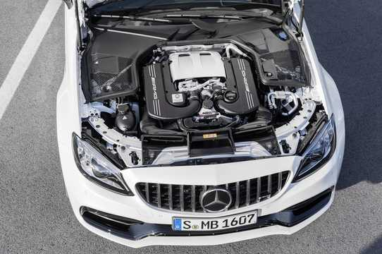 Engine compartment  of Mercedes-Benz AMG C 63 S Coupé 4.0 V8 , 510hp, 2018