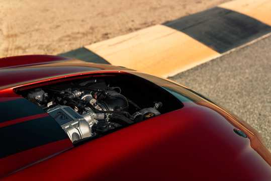 Engine compartment  of Ford Mustang Shelby GT500 5.2 V8 DCT, 700hp, 2020