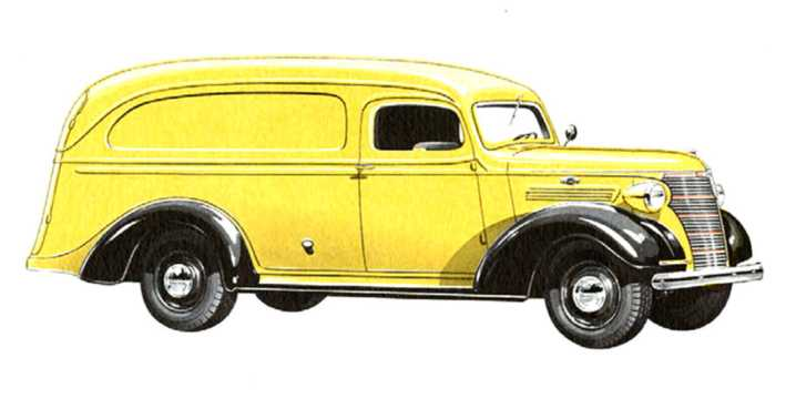 Front/Side  of Chevrolet Model HC Panel Truck 3.5 Manual, 79hp, 1938