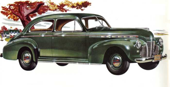 Front/Side  of Chevrolet Special Deluxe Town Sedan 3.5 Manual, 91hp, 1941