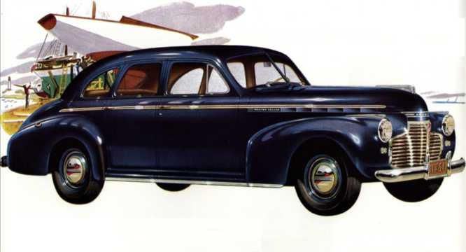 Front/Side  of Chevrolet Master Deluxe Sport Sedan 3.5 Manual, 91hp, 1941