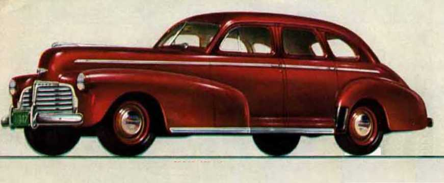 Front/Side  of Chevrolet Master Deluxe Sport Sedan 3.5 Manual, 91hp, 1942