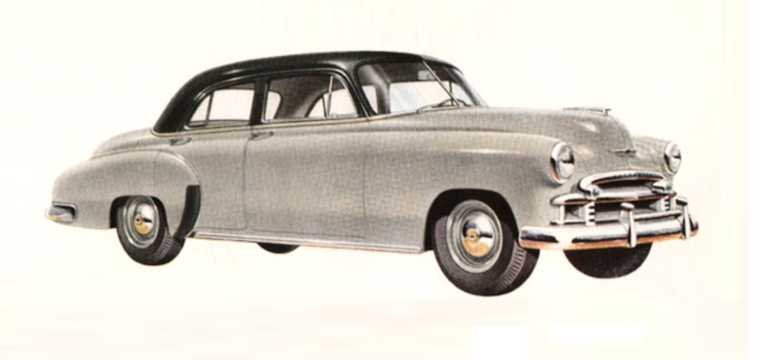 Front/Side  of Chevrolet Styleline Special 4-door Sedan 3.5 Manual, 93hp, 1950